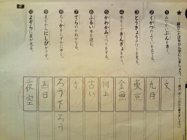 H30.02.23 学校のプリント 漢字テスト.JPG