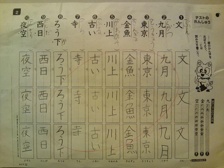 H30.02.23 学校のプリント 漢字テストの練習.JPG